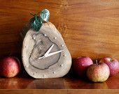 """Pear 2"" - hand-made walnut clock with backlight."