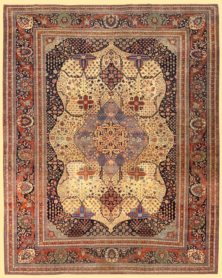 ANTIQUE KASHAN MOHTASHAM  cm 400 x 320 - ft 13'2 x 10'6  RUG.Extraordinary rugs with very dense knot attributable to master Kashan Mohtasham's manufactures! The pile is so shiny to seem knotted with the silk.