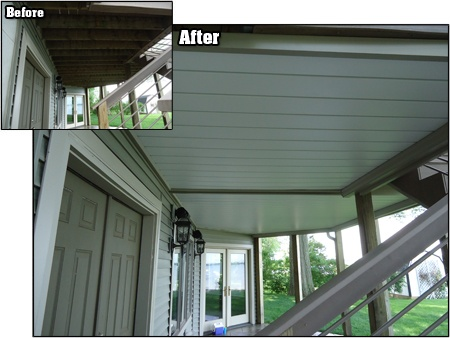 give  outdoor living area  finished quality   deck oasis  deck ceiling