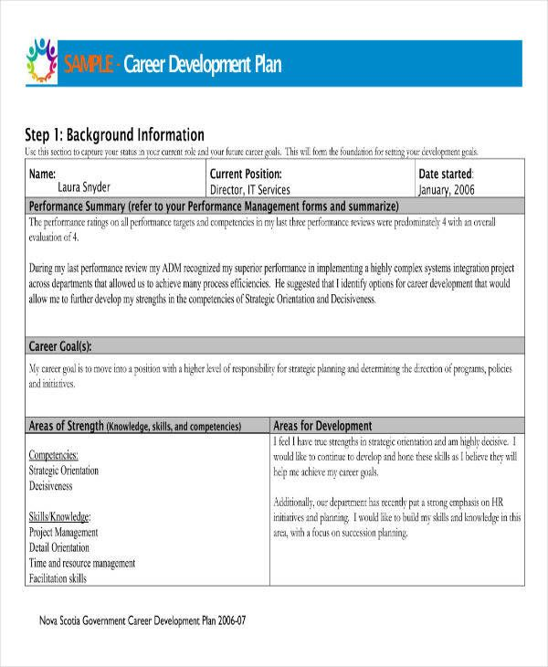 9 Career Development Plan Templates Pdf Word Apple Pages Free