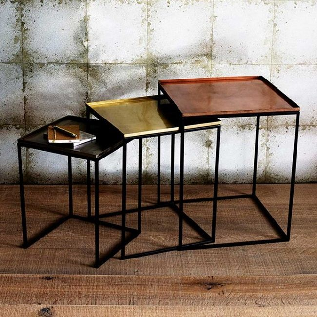 Bombay Duck Set of 3 Nesting Tables Copper/Brass/Nickel | Barkers Wexford