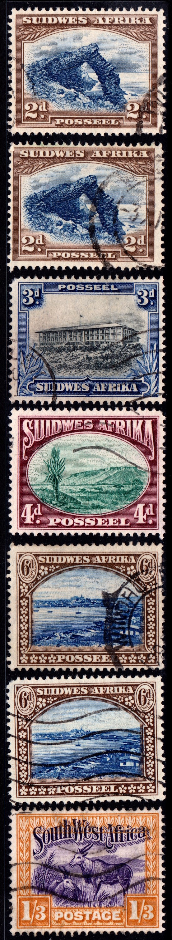 Stamps from British Southwest Africa, printed in setenant pairs, with both English and Afrikaans. I only have the Afrikaans ones. King George V
