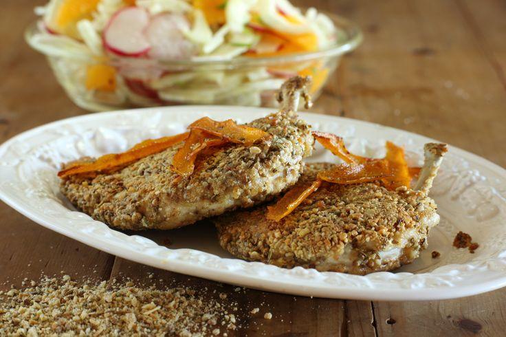 Dukkah Crumbed Chook Breast with Fennel, Radish and Orange Salad - Maggie Beer