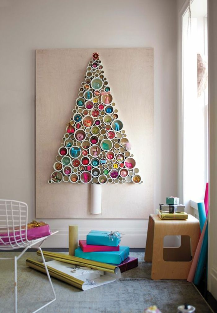 weihnachtsdeko ideen wanddeko tannenbaum schöne dekoideen