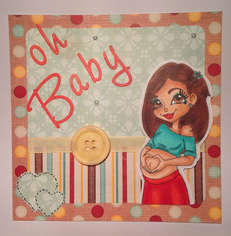 """""""Oh baby"""" maternity leaving card. Just love this image and the colours! Hand coloured using copic markers."""