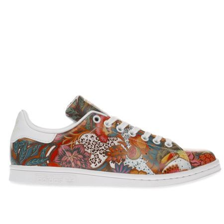 womens adidas white & red stan smith floral trainers