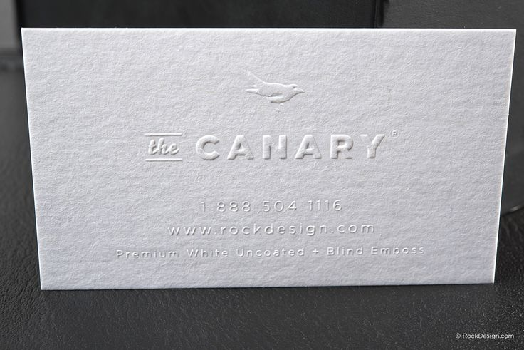 Minimalist blind emboss premium white business card - The Canary | RockDesign Luxury Business Card Printing