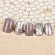 High quality gray with shining sliver color false nails french Acrylic pure color cute fake nails OL short size full nail tips(China (Mainland))