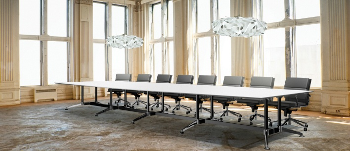 The fabulous Modulous boardroom table and Moda midback office chair
