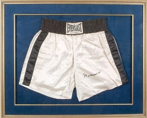 Going on the auction block.  Ali's trunks from the Thrilla in Manila:  http://www.sportscollectorsdaily.com/alis-thrilla-in-manila-trunks-going-on-auction-block/