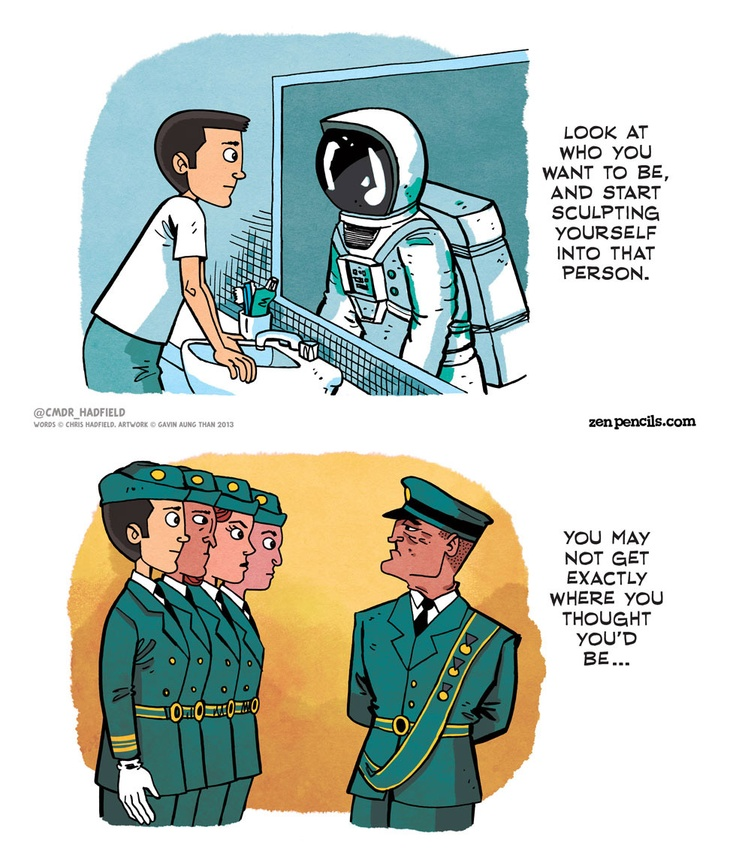 Chris Hadfield: An astronaut's advice.  Why worry about growing up when there's so much GOING up to do? (Click through for full comic, this is really well done!)