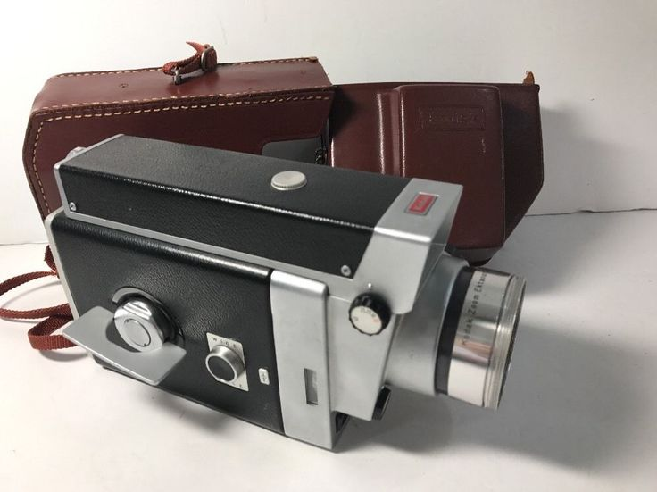 Kodak Electric 8 Zoom Reflex Camera Brown Leather case Orange Filter Lens old #eBayDanna