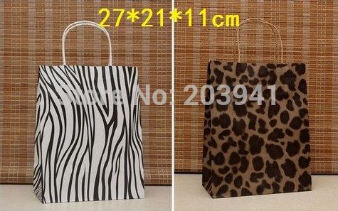 30PCS Fashion gift paper bag/27*21*11CM/Leopard & Zebra printed paper bags/ Wholesale price