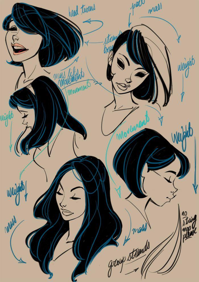 Tips on drawing hair by The Toon Sketchbook [link--> http://toonsketchbook.tumblr.com/post/27813341613]