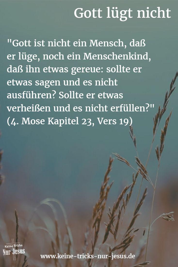 • Gott lügt nicht, wenn er Ihnen Ihre Errettung durch Jesus zusagt (Johannes 10:27-29) • Er lügt nicht, wenn er Ihnen zusagt, daß er nur Pläne des Heils für Sie hat (Jeremia 29:11–14) • Er lügt nicht, wenn er Ihnen zusagt, daß er Sie heilt (2. Mose 15:26) • Er lügt nicht, wenn er Ihnen zusagt, daß er alle Krankheiten von Ihnen fernhält (2. Mose ツ23:25) • Er lügt nicht, wenn er sagt, daß er wegen des Opfers von Jesus für Sie Ihre Sünden nicht mehr sieht (Hebräer 10:17)