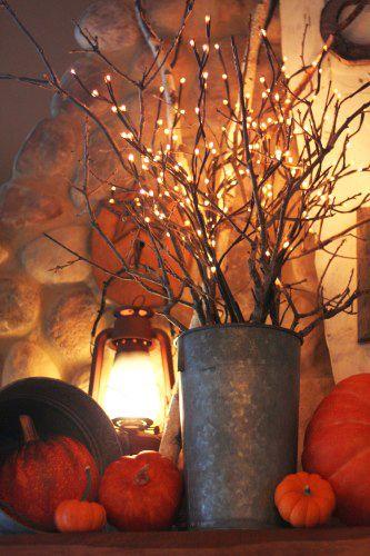 .: Decor Ideas, Fall Decor, Buckets, Pumpkin, White Lights, Falldecor, Lights Branches, Lanterns, Front Porches