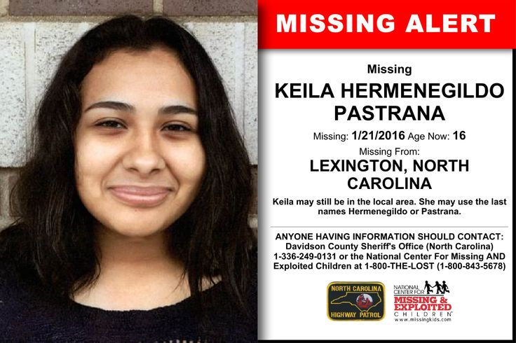 KEILA HERMENEGILDO PASTRANA, Age Now: 16, Missing: 01/21/2016. Missing From LEXINGTON, NC. ANYONE HAVING INFORMATION SHOULD CONTACT: Davidson County Sheriff's Office (North Carolina) 1-336-249-0131.