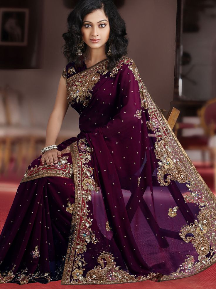 Simple plum and gold saree