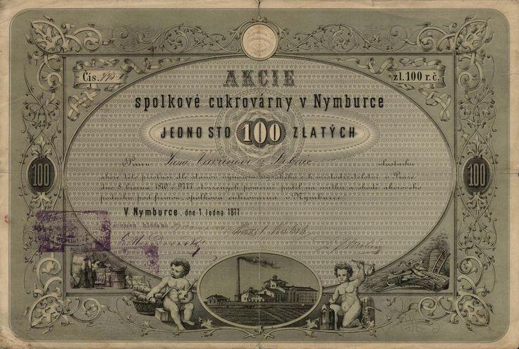 Spolková cukrovárna v Nymburce (Zuckerfabriks- Gesellschaft in Nimburg). Akcie na 100 Zlatých. Nymburk, 1871.