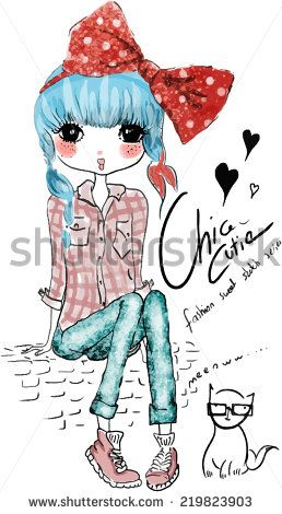 Stock Images similar to ID 213381748 - fashion cute girl illustration
