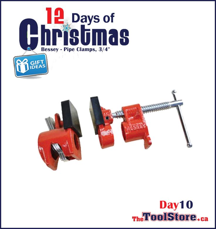 #12DaysofChristmas from @onlinetoolstore - DAY10 - Bessey 3/4-Inch Pipe Clamp PC-34DR, Clutch action grips on the Bessey 3/4-Inch Deep Reach Pipe Clamp Fixture bar automatically.