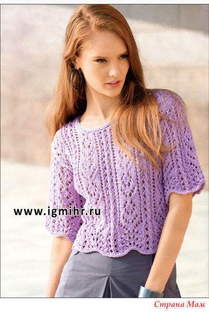 Ажурный летний пуловер цвета мальвы