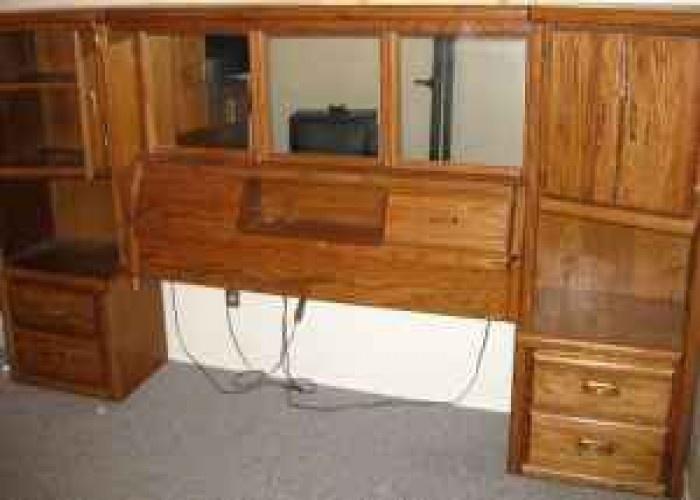 Wall Unit Oak Bed set Queen Size 800 (Aubrn) Comfy
