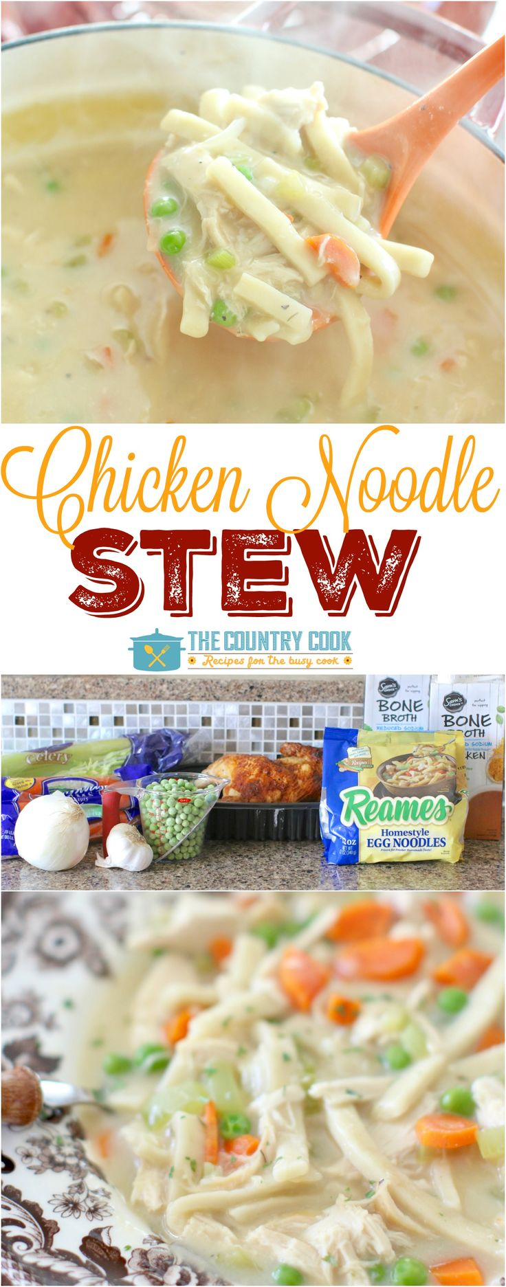 Thick and creamy chicken noodle stew recipe from The Country Cook with easy and yummy Reames homestyle egg noodles! #Reames #HomemadeGoodness #ad
