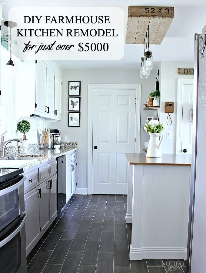 DIY Farmhouse Kitchen Remodel for just over