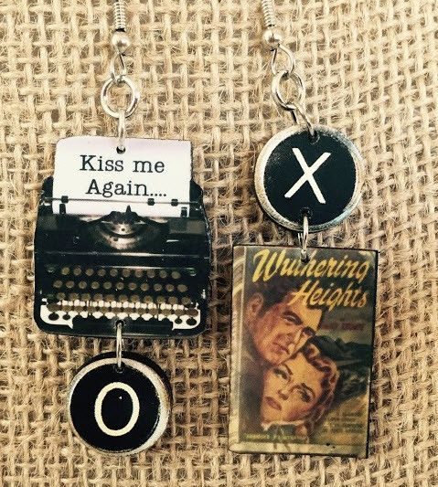 Oh, Heathcliff! Emily Bronte novel Handcrafted earrings include one typewriter earring with quote from the book and one book cover earring. The flip side the of book cover has a picture of the author.
