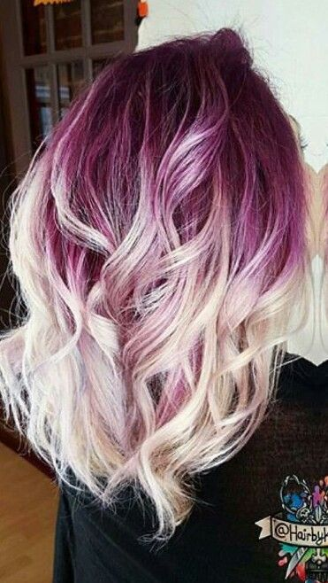Purple blonde ombre dyed hair color @hairbykaseyoh | Hair ...