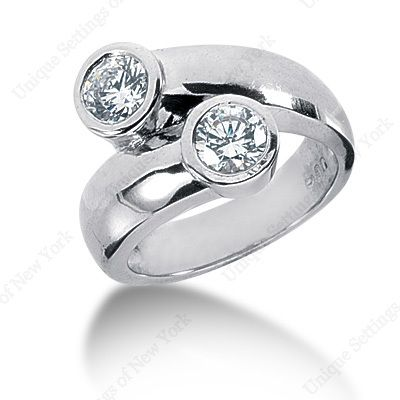 By-pass two stone ring.                                                                                                                                                                                 More