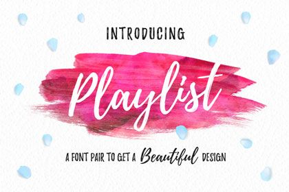Playlist Free Font is a perfectly imperfect handdrawn font with dry brush styles. Playlist font contains 3 styles: Script, Caps, and Ornament, which you can combine to create a beautiful designs.