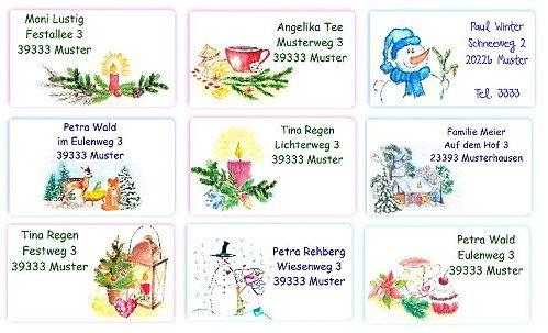 Adressaufkleber zu Weihnachten und im Winter - mit passenden Briefpapieren - viele zauberhafte Motive www.kreativzauber.de