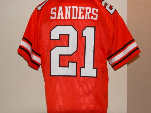 e87149f6d ... 21 Barry Sanders Oklahoma State Cowboys NCAA RB 1986-88 Orange  Throwback Jersey.