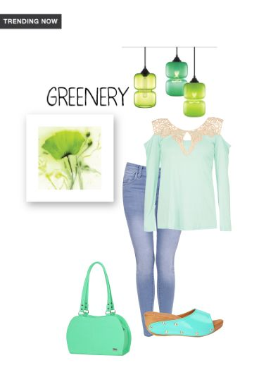 'greenery' by me on Limeroad featuring Green Tops, Low Rise Blue Jeans with Green Handbags