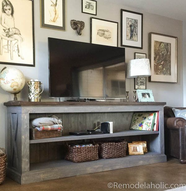 Build a farmhouse style tv console sideboard remodelaholic find this pin and more on kids hangout room