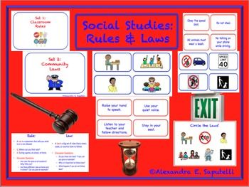 Great for Back to School Rules, Social Studies: Learning about Laws, and comparing rules vs. laws. Ideal for special needs and children with autism because picture symbols are used! Can be used as a cut/ paste or a center's activity! Includes Standards!