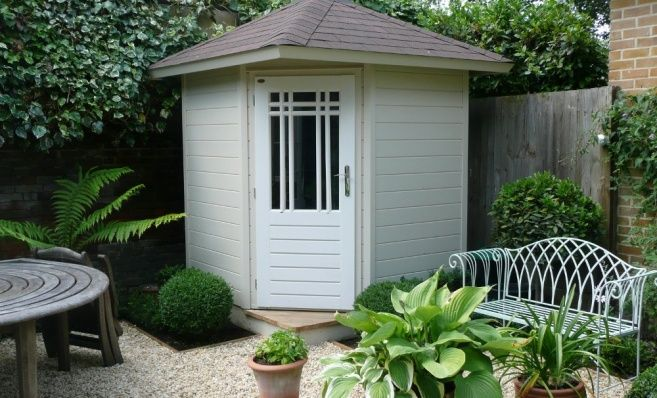 outdoor corner shed | ... , Timber Garages, Summer houses, Posh Sheds, Gazebos - Garden Affairs