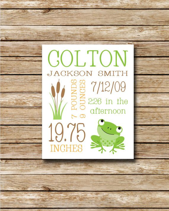 Custom Birth Print Green Frog 8 x 10 by swtlittlehodgepodge, $8.00 - bet we could make this @Ali Kooyers