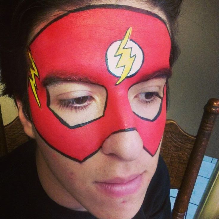 Flash Face painting super hero by caritas de angel face paintings