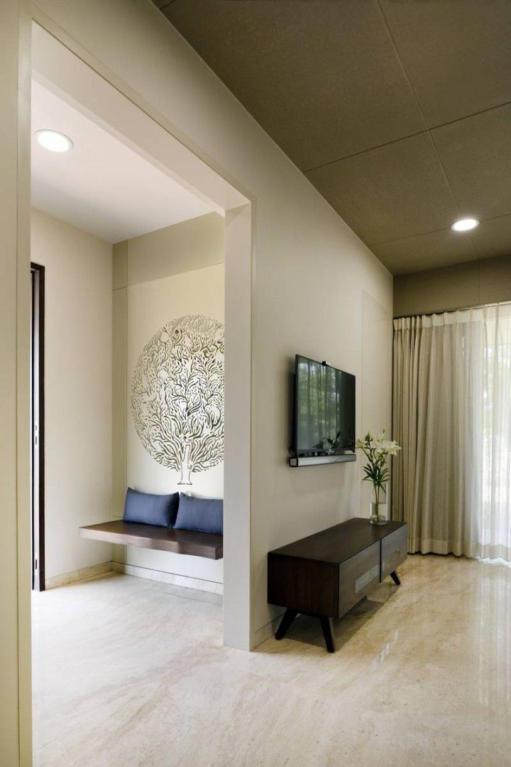 Vaibhav Residence A T Associates Wall Decor Living Room Apartment House Entrance Apartment Interior Design