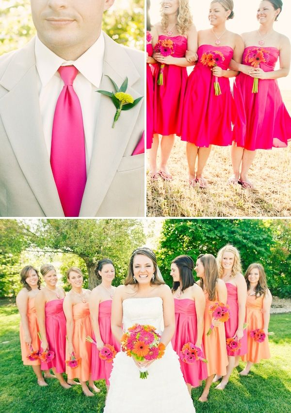 10 best images about pink and orange wedding on pinterest for Pink and orange wedding dresses