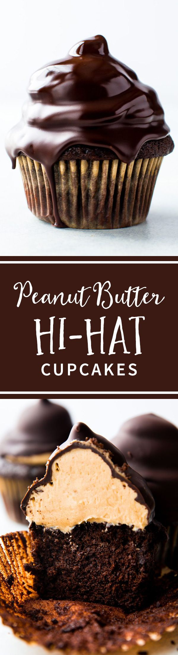 Step photos and explanations for making peanut butter hi-hat cupcakes at home! Recipe on sallysbakingaddiction.com