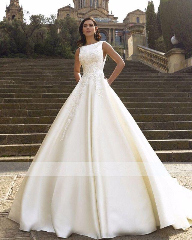 474312354c48b Vestido de novia nuevo blanco marfil Baile Vestido Vestidos para Boda Espalda  descubierta de raso encaje personalizado in Ropa