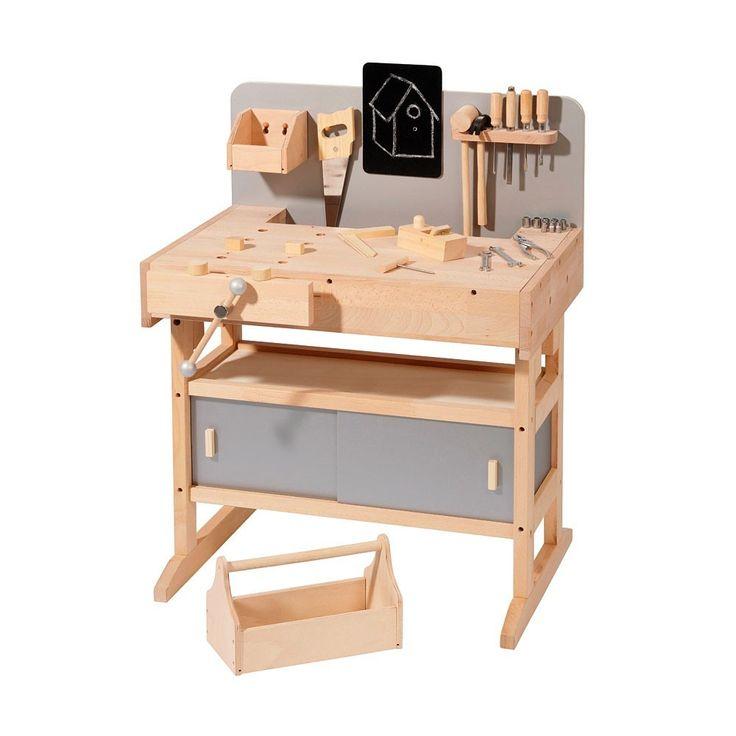 Etabli en bois avec sa caisse à outils - Smallable