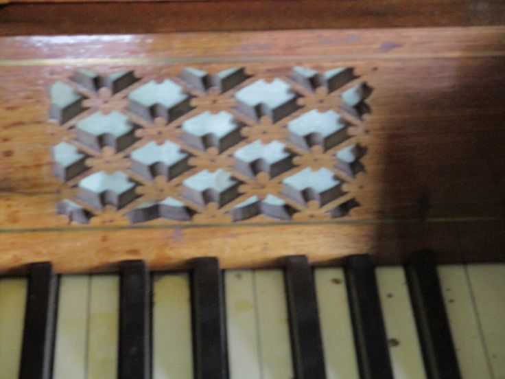 Closer view of fretwork detail on early 19th century square table piano by John Hingston, Fitzroy Square, London.