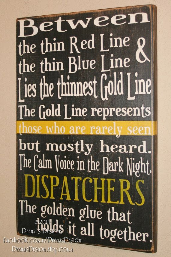 Dispatcher Wall Art, EMS Decor, Distressed Wall Decor, Custom Wood Sign, 911 Dispatcher - Thin Gold Line on Etsy, $48.00