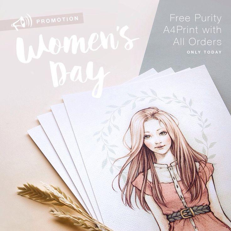 INTERNATIONAL WOMEN'S DAY PROMO. All orders get free 'Purity' A4 Print. Only valid on 8 March '16 —  PROMOCIÓN DÍA INTERNACIONAL DE LA MUJER. Todos los pedidos realizados incluiran gratis la lámina A4 'Purity'. Válida sólo el 8 de Mayo '16.