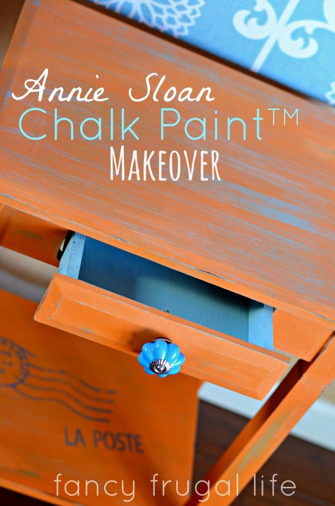 Annie Sloan Chalk Paint side Table makeover with Duck Egg Blue and Barcelona Orange